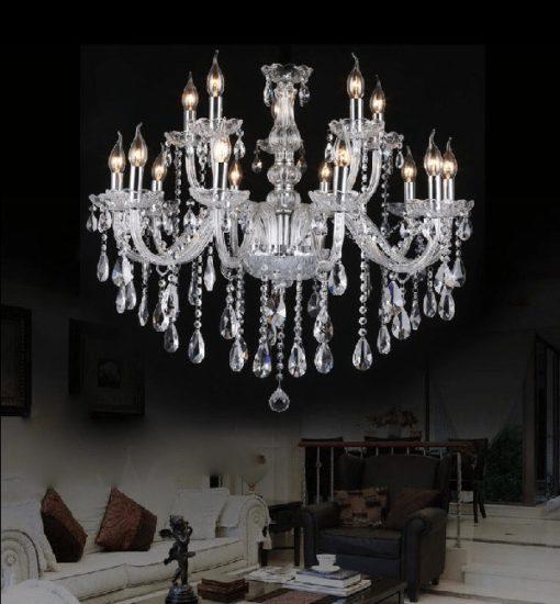 Żyrandol kryształowy pałacowy wiszący duży świecznik