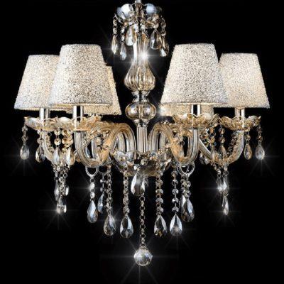 Żyrandol kryształowy wiszący złoty