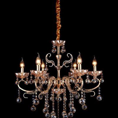 Nowoczesna kryształowy żyrandol wiszący złoty