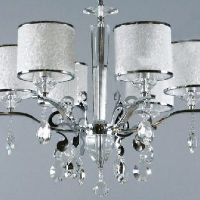 Żyrandol kryształowy wiszący duży z abażurami biały chromowy