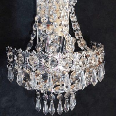 Kinkiet kryształowy duży srebrny