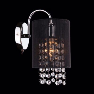 Kinkiet kryształowy nowoczesny z czarnym abażutem