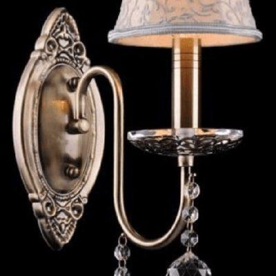 Kinkiet kryształowy jedno płomienny stare złoto