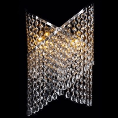 Kinkiet kryształowy nowoczesny duży chrom