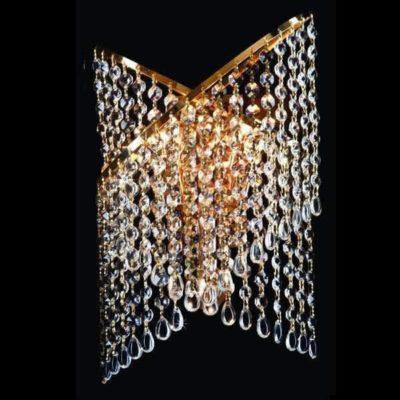 Kinkiet kryształowy nowoczesny duży złoty