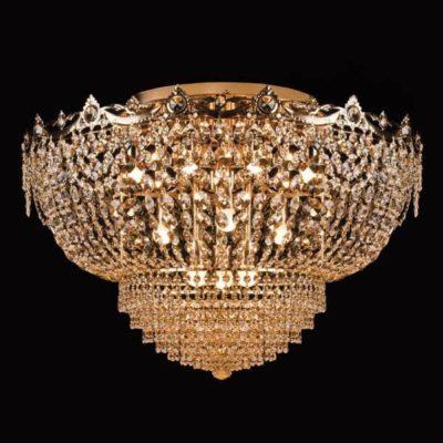 Plafon kryształowy wiszący duży złoty