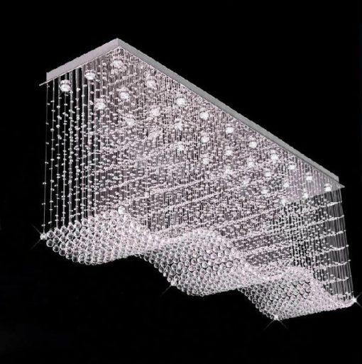 Lampa nowoczesna wisząca długa szeroka holl korytarz hotel restauracja ekskluzywna lampa