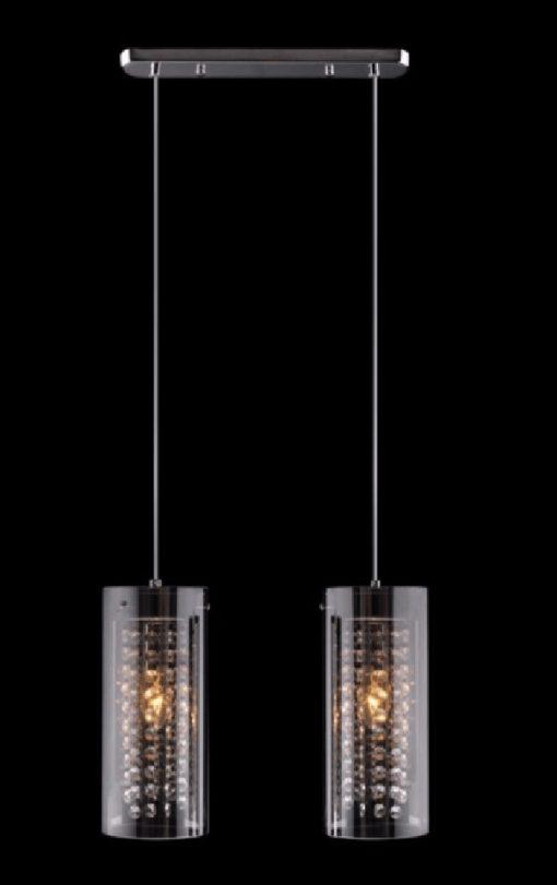 Lampa wisząca kryształowa nad stół bar chrom czarny klosz