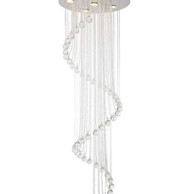 Lampa nowoczesna kryształowa K9 5 punktowa wisząca serpentyna plafoniera spirala sprężyna