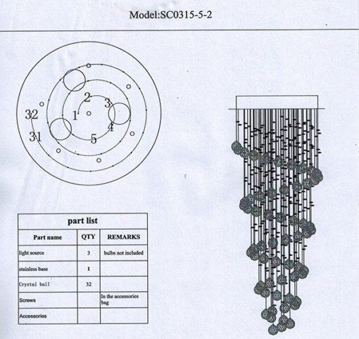 Lampa nowoczesna kryształowa K9 3 punktowa wisząca serpentyna plafoniera spirala sprężyna