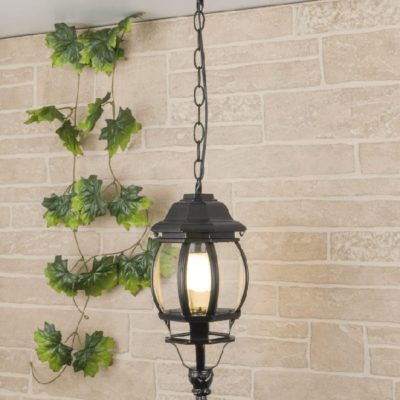 Lampa ogrodowa zewnętrzna wisząca czarna duża