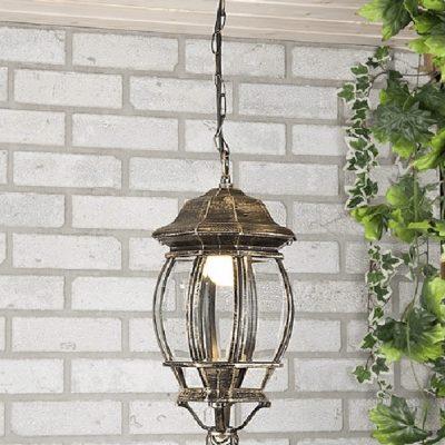 Lampa wisząca ogrodowa czarno złota duża