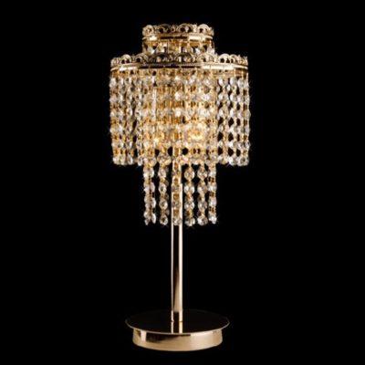 Lampka stojąca biurkowa nocna kryształowa złota