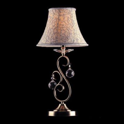 Lampka nocna kryształowa biurkowa duża stare złoto