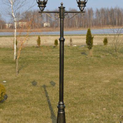 Lampa latarnia ogrodowa czarno złota duża okazała