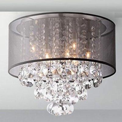 Nowoczesny plafon kryształowy z abażurem VELVA LIGHT CRYSTAL