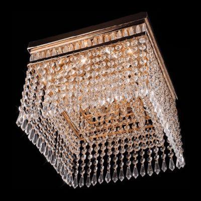 Plafon kryształowy nowoczesny złoty kwadratowy