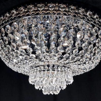 Plafon kryształowy wiszący chrom duży
