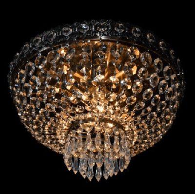 Plafon kryształowy wiszący stare złoto patyna