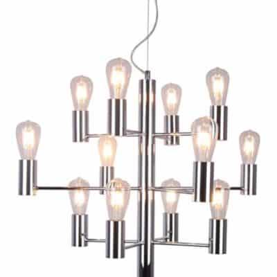 Nowoczesna lampa wisząca duża 12 żarówek chrom