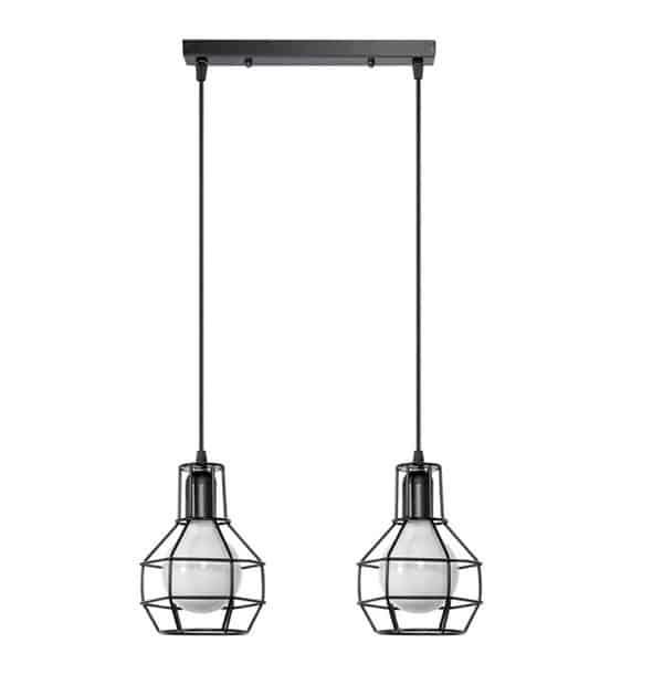 nowoczesne lampy wiszące nad stół czarne dwu dwupunktowe