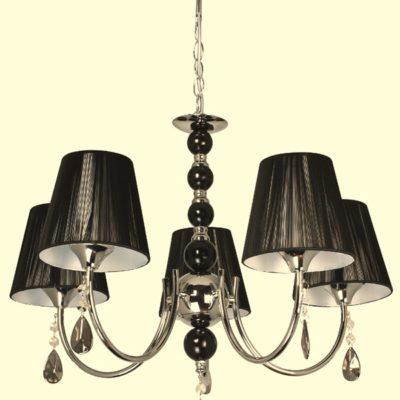 Lampa Żyrandol W-N 0809/5 Chrom lampa wisząca kryształowa czarna