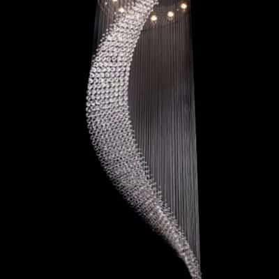 Lampa wisząca kryształowa, lampa długa, lampa wisząca o dużej średnicy, lampa kłos, koński ogon, FALA 180