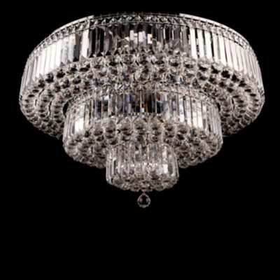 Ekskluzywna lampa kryształowa duża plafon kryształowy duży poziomowy 20 punktowy chrom CALIFORNIA